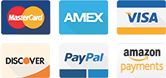 Shop securely with all major credit cards, PayPal and Amazon Pay